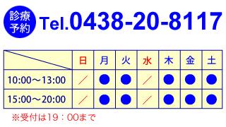 診療予約:電話0438-20-8117|診療日程・時間表